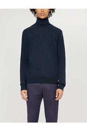 Sandro Mens Navy Turtleneck Fine-knit Wool Jumper XL