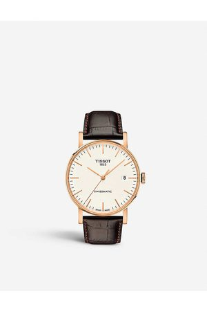 Tissot T109.407.36.031.00 rose -plated stainless steel and leather watch