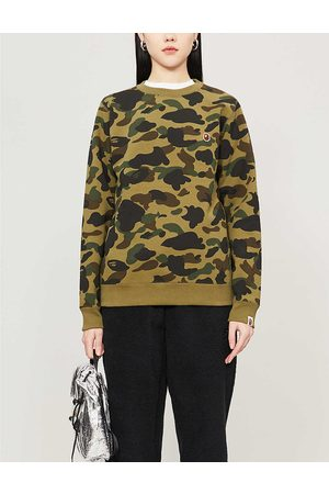 BAPE Womens Camouflage-patterned Cotton-jersey Jumper XS