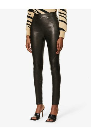 Spanx Womens Like Leather Skinny High-rise Faux-leather Trousers XS