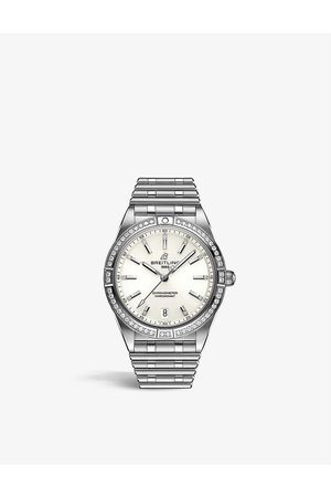 Breitling Womens A10380591A1A1 Chronomat 36 Stainless Steel and Diamond Watch