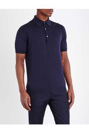 JOHN SMEDLEY Men's Midnight Sea Island Cotton Polo Shirt