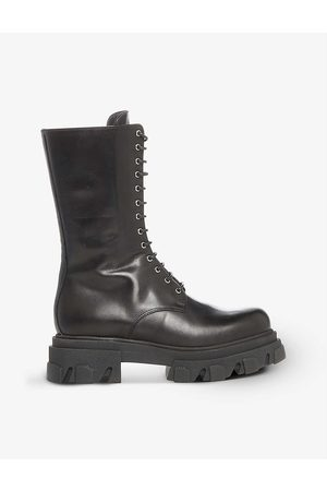 Dune Womens -leather Roshi Chunky Sole Leather Biker Boots EUR 37 / 4 UK Women