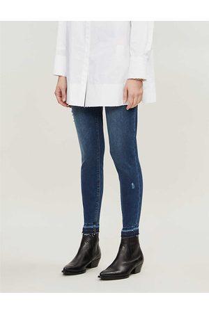 Spanx Womens Mid Wash Distressed Skinny High-rise Stretch-denim Jeans XS