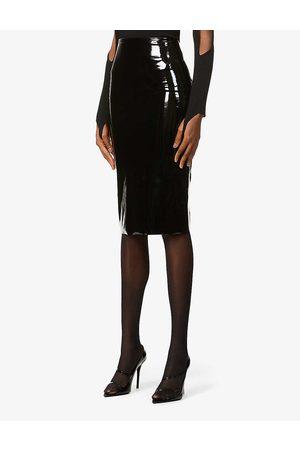 Commando Womens High-waisted Stretch-patent Midi Skirt XS