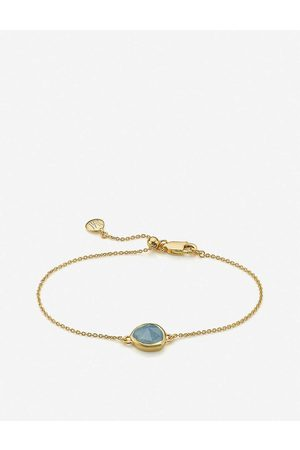 Monica Vinader Womens 18ct Vermeil Siren 18ct -plated Sterling Silver and Aquamarine Fine Bracelet 1 Size