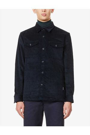 Barbour Mens Navy Collared Stretch-cotton Corduroy Shirt S