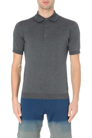 JOHN SMEDLEY Men's Charcoal Adrian Cotton Polo Shirt
