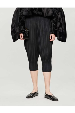 PLEATS PLEASE ISSEY MIYAKE Womens Cropped High-rise Tapered Pleated Trousers 1