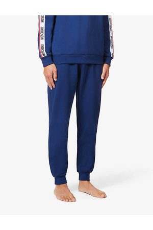 Moschino Mens Branded-tape Cotton-blend Jogging Bottoms XS