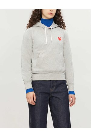Comme des Garçons Womens Logo-embroidered Cotton-jersey Hoody XS
