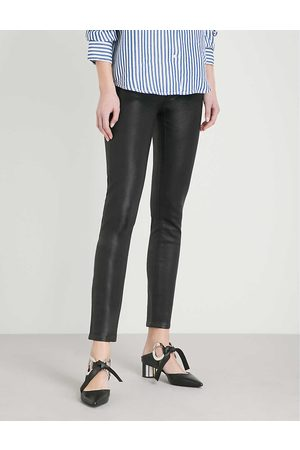 Paige Ladies Leather Hoxton Ankle Ultra-Skinny High-Rise Coated Stretch-Denim Jeans