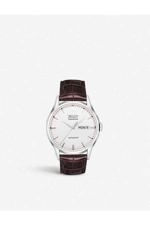 Tissot Mens T0194301603101 Heritage Visodate Stainless Steel and Leather Watch
