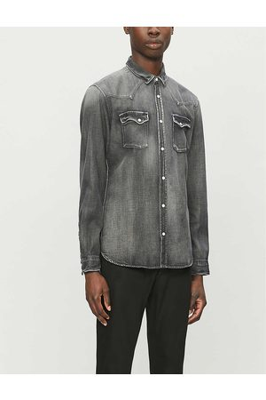 The Kooples Mens Gry01 Faded Relaxed-fit Stretch-denim Shirt S