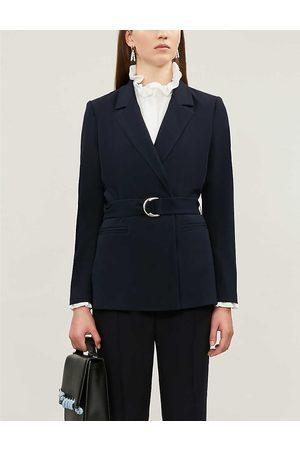 Claudie Pierlot Womens Navy Buckled Regular-fit Crepe Blazer 6