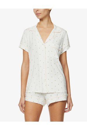 Eberjey Womens Magnolia Tropical Giving Palm Stretch-woven Pyjama Shorts set XS