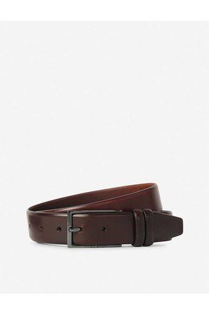 HUGO BOSS Mens Med Hugo Brushed Leather Belt