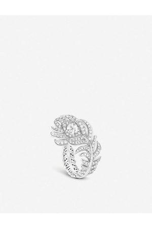 Boucheron Womens Plume de Paon Small 18ct White-gold and 0.30ct Rose-cut Diamond Ring 49mm