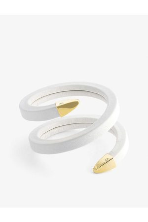 Bottega Veneta Womens Bianco Wrap Sterling-silver and Leather Bracelet