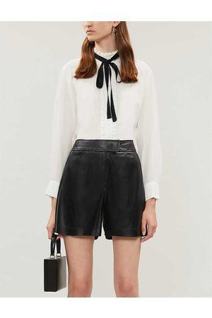 Sandro Womens Ecru Neck-tie Silk-crepe Shirt 6