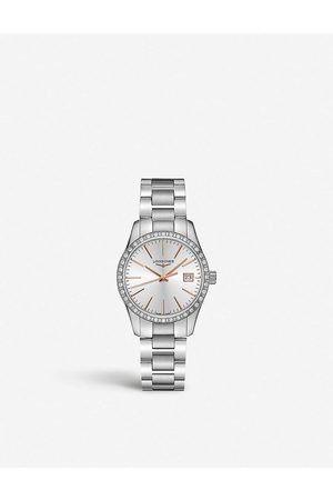 Longines Womens L2.386.0.72.6 Conquest Classic Stainless-steel and 0.601ct Diamond Quartz Watch