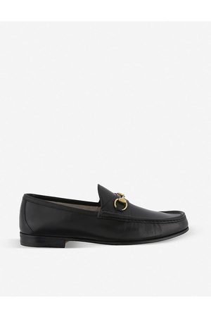 Gucci Mens Roos Horsebit Leather Moccasins