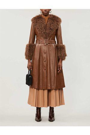Saks Potts Womens Walnut Foxy Shearling-trimmed Leather Coat S