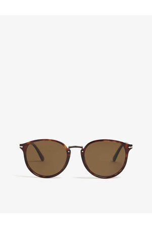 Persol Mens Havana Po3210 Typewriter Edition Round-Frame Sunglasses