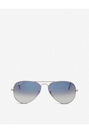 Ray-Ban Mens Original Aviator Gunmetal-Frame Sunglasses With Gradient Blue Lenses Rb3025 58