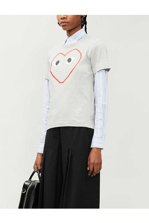 Comme des Garçons Womens Logo-print Cotton-jersey T-shirt XS