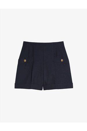 Sandro Womens Navy Siena High-waisted Wool-blend Shorts 8