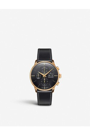 Junghans Men Watches - 027/7923.01 Meister Chronoscope rose gold-plated stainless steel and leather watch