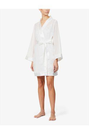 BlueBella Womens Ivory (Cream) Satin-trim Chiffon Kimono S