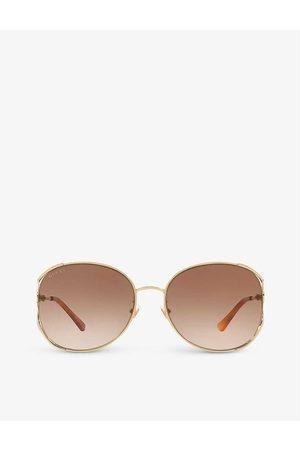 Gucci Mens GG0650SK Oval-frame Metal Sunglasses