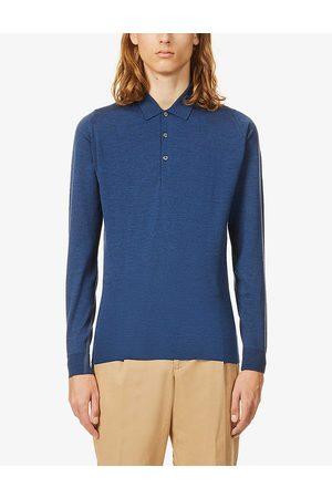 JOHN SMEDLEY Mens Indigo Belper Collared Wool Polo Shirt S