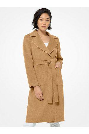 Michael Kors MK Double Face Wool Blend Robe Coat - Dark Camel - Michael Kors
