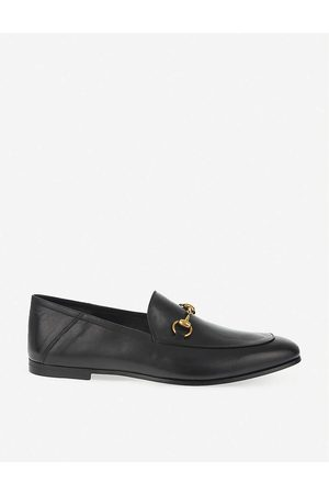 Gucci Mens Brixton Leather Slide Moccasins