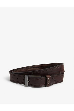 Ted Baker Mens Chocolate Crikitt Stitched Leather Belt 38