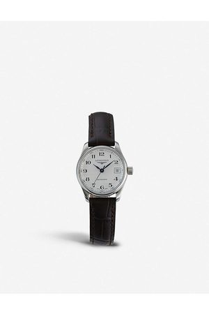 Longines Mens L2.128.4.78.3 Stainless Steel and Croc-embossed Calfskin-leather Automatic Watch