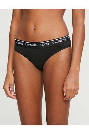 Calvin Klein Womens 001 CK One Cotton-blend Thong M