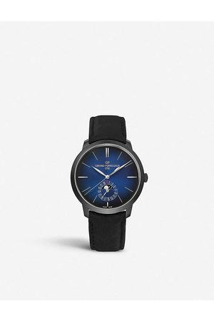 Girard Perregaux Mens 1966 Blue Moon Stainless Steel and Leather Watch