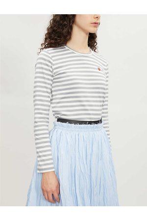 Comme des Garçons Ladies Heart-Embroidered Striped Cotton-Jersey Top