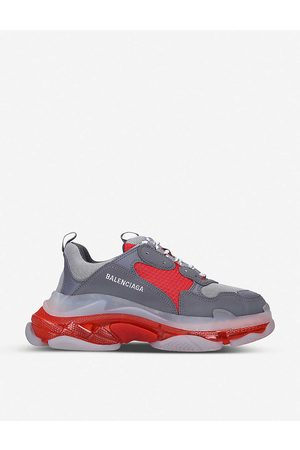 Balenciaga Mens MID Mens Triple S Leather and Mesh Trainers 5