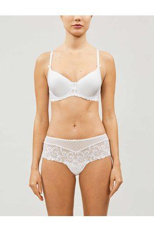 Aubade Womens Blanc Au Bal de Flore Embroidered-lace Spacer bra 30D