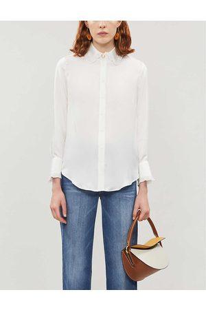 Sandro Womens Ecru Frill-trimmed Satin-twill Shirt 12