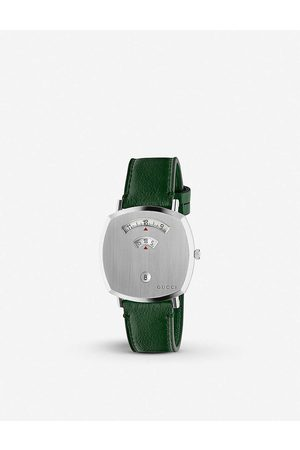 Gucci Men Watches - YA157412 Grip stainless steel and leather watch