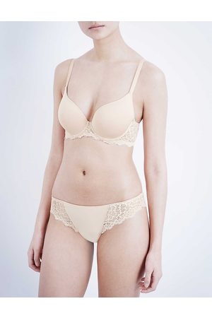 Simone Pérèle Peau Rose Caresse Jersey And Stretch-Lace Underwired Plunge Bra