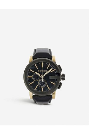 Gucci Mens Ya101203 G Chrono Collection Pvd And Leather Watch