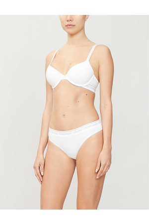 Calvin Klein Womens 100 CK One Underwired Cotton-blend Jersey Demi bra 32A