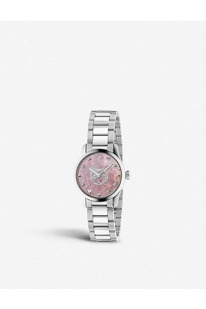 Gucci Womens YA1265013 G-Timeless Stainless Steel and Mother-of-pearl Watch